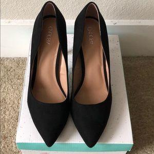 Black Faux Suede Heels